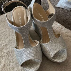 Sparkly silver wedges